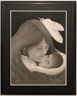 Untitled: Young Mother and Child 30 x 38 inches Framed Charcoal on Arches paper. $975.00
