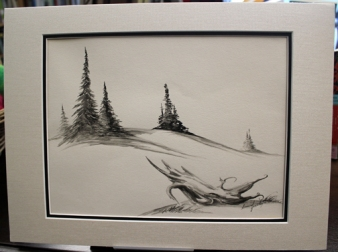 Untitled Landscape 12 x 16 inches Matted India Ink on Paper $250.00
