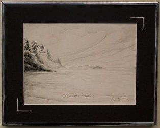 Snow Shoe Bay 9.75 x 12.25 inches, Framed India Ink on Paper $175.00 (Signature fading, some minor acid damage)
